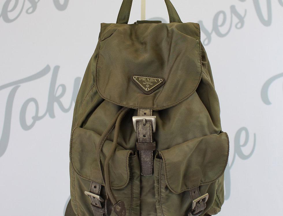 Vintage Prada Nylon Backpack Khaki Green