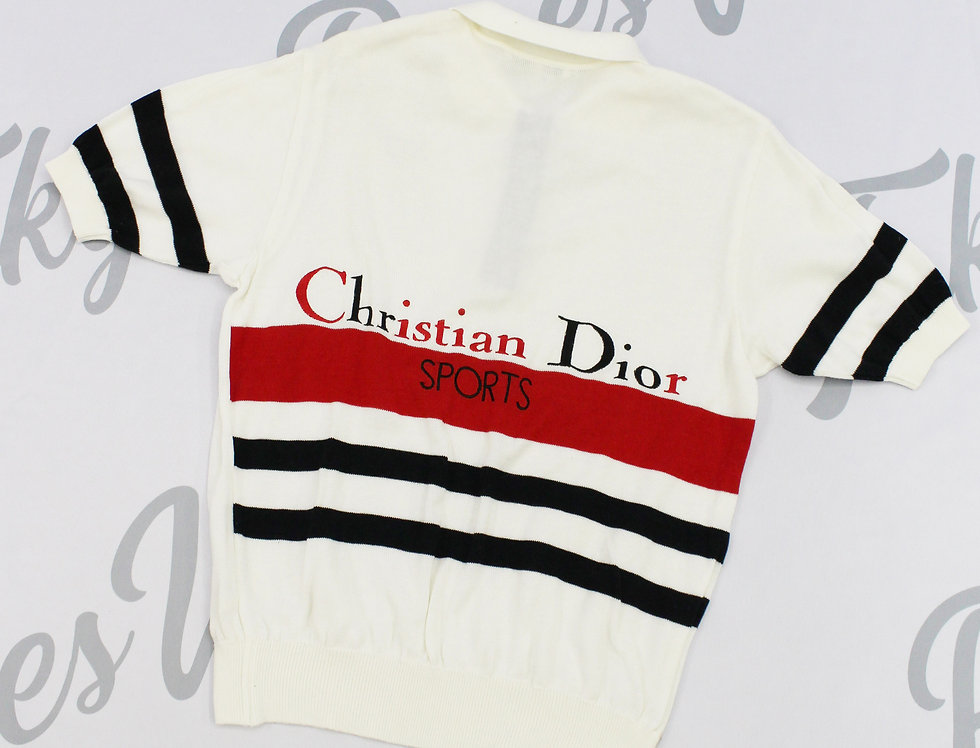 Christian Dior Sports Short Sleeve Knit Sweater Top White