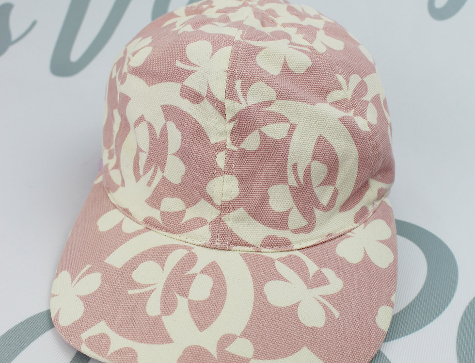 Chanel CC Logo Clover Motif Cap Hat Pink White Cotton