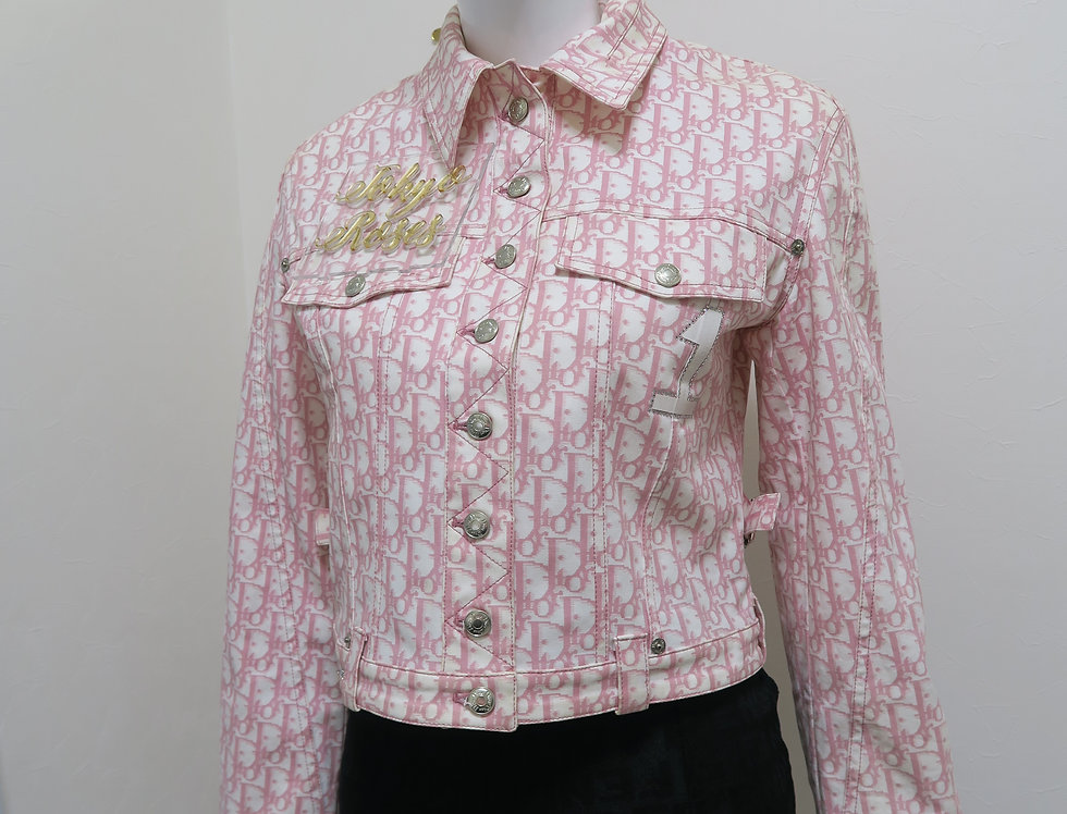 Christian Dior Pink Trotter Logo Monogram Print Button Down Jacket