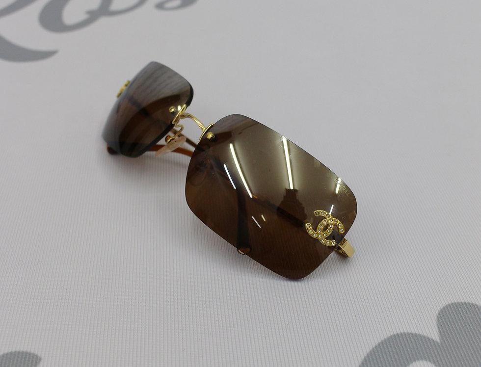Chanel Dark Brown Tinted Sunglasses Rhinestone Glasses