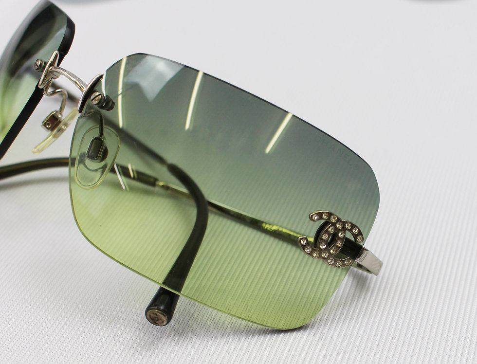 Vintage Chanel Green Tinted Sunglasses Rhinestone Glasses