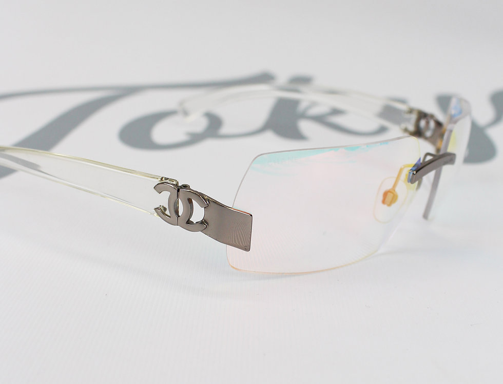 Vintage Chanel Rainbow Tinted Clear Sunglasses 2000s Glasses S