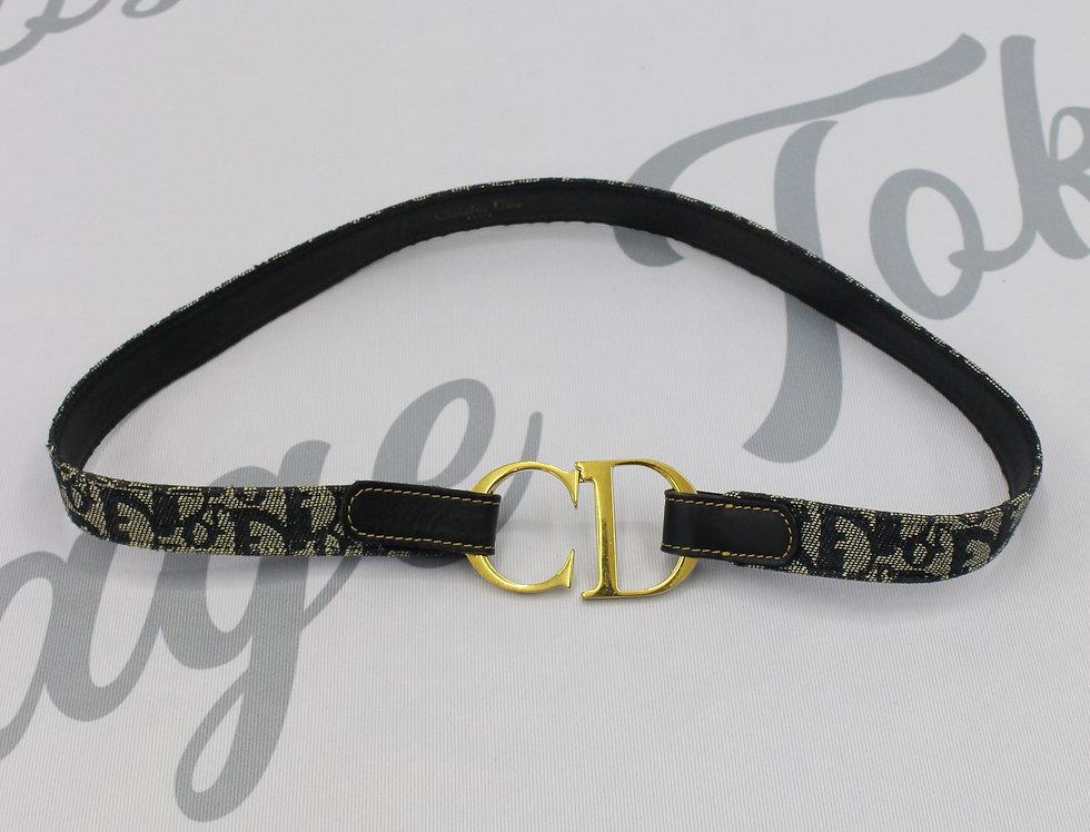 Christian Dior Vintage Monogram Gold Logo Buckle Belt Navy
