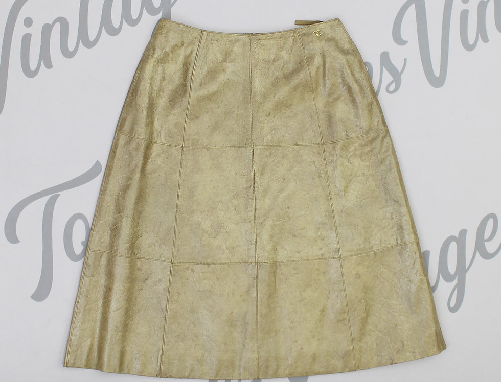Chanel Leather Metallic Midi Skirt CC Logo Hip