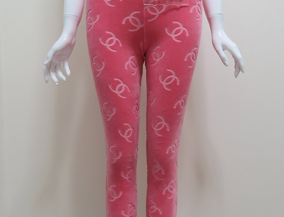 Chanel Pink Velour Pants CC Logo Super Rare Runway