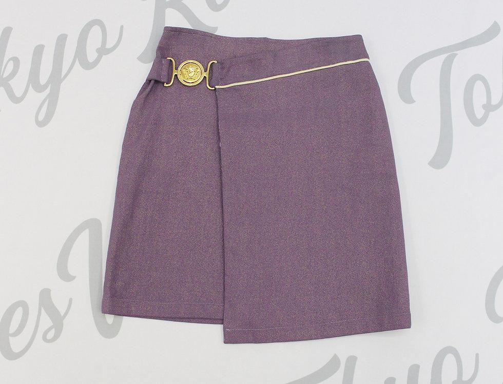 Versace Purple Wrap Skirt Gold Jumbo Medusa Logo