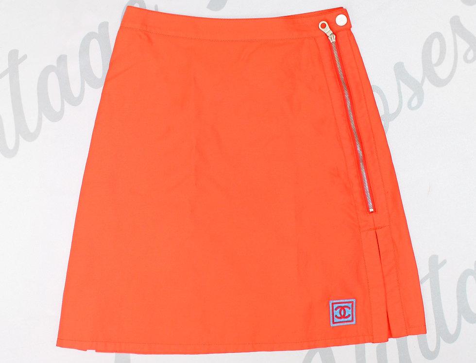 Chanel Sport Orange Skirt Blue CC Logo