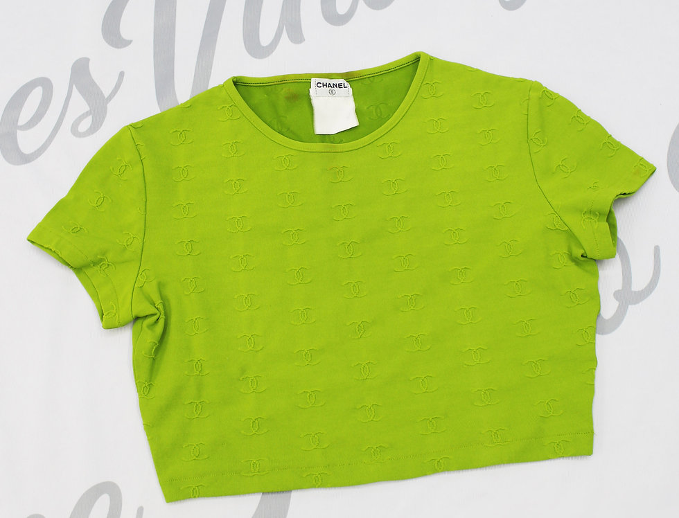 Chanel Green Logo Crop Top 1997