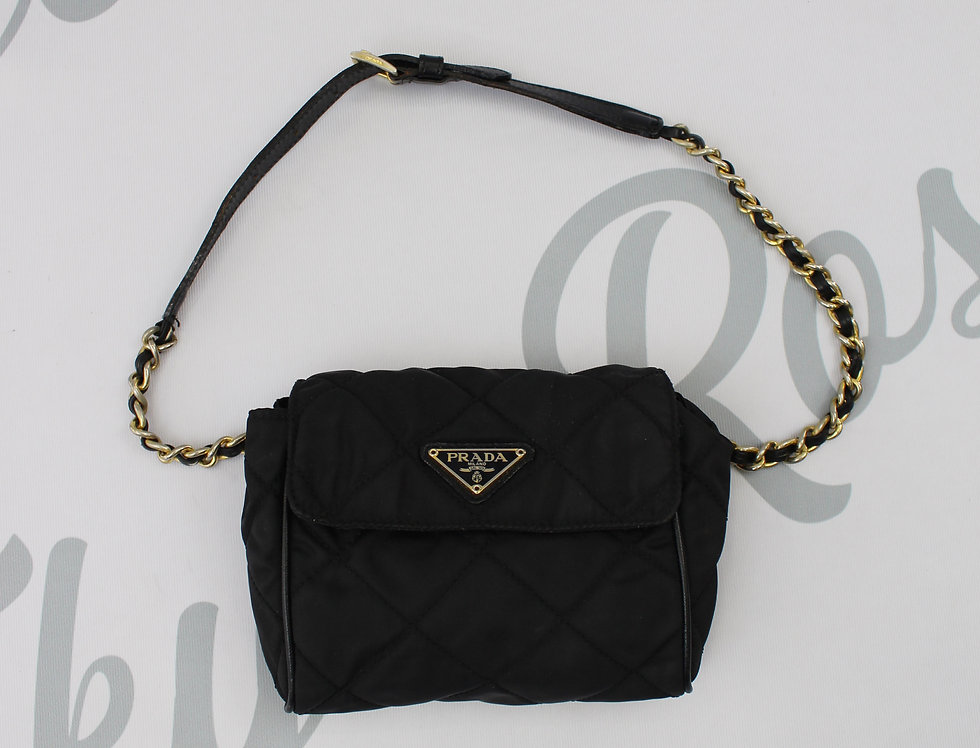 Black Prada Nylon Quilted Chain Fanny Pack