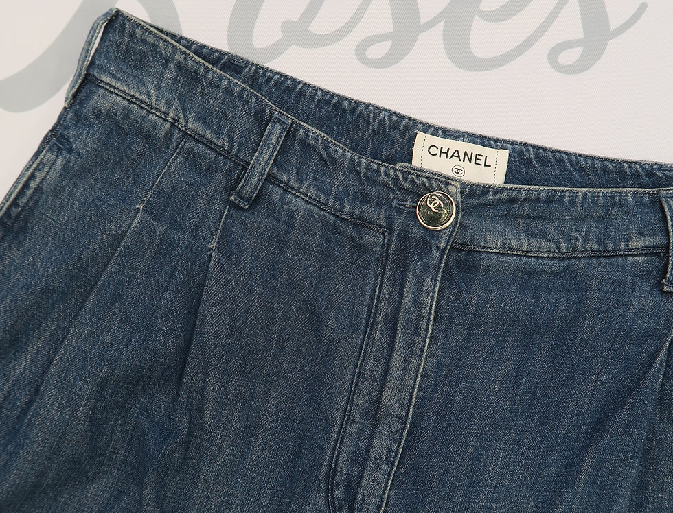 Chanel Denim Jeans Wide Cut 44
