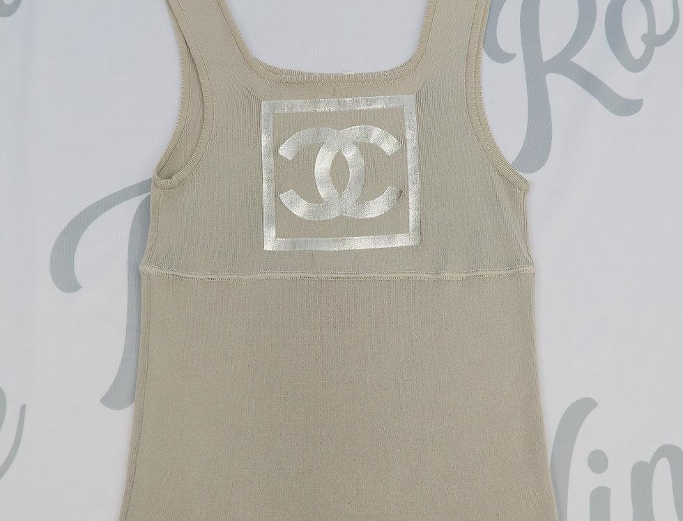 Chanel Silver CC Logo Sleeveless Top Grey