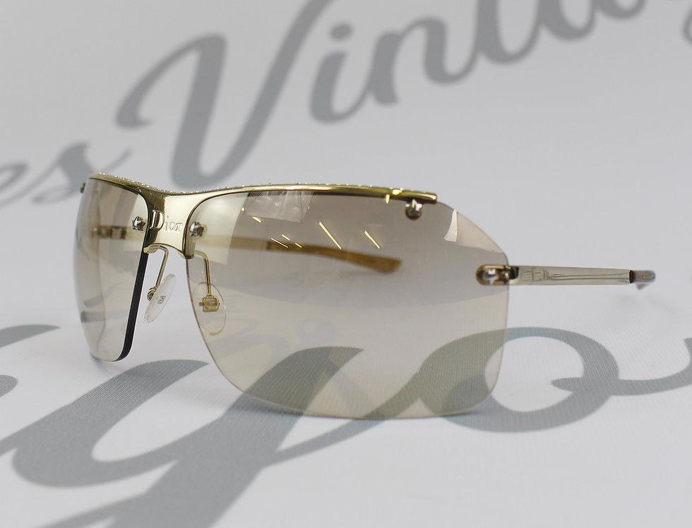 Christian Dior Rhinestone Aviator Sunglasses Logo Glasses