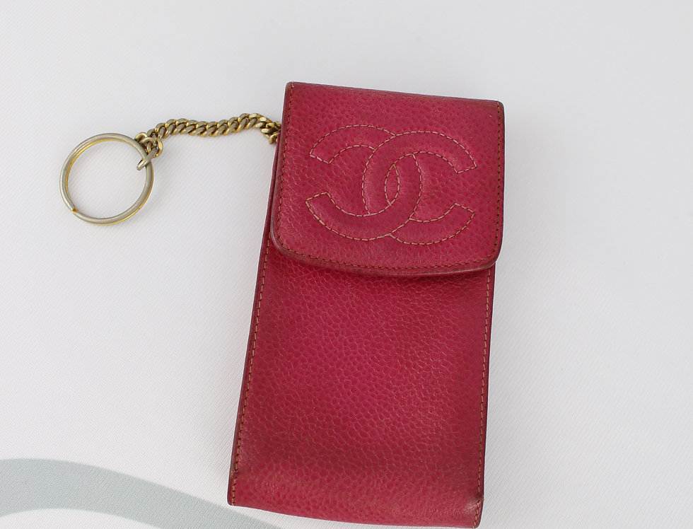 Chanel Chain Pouch Pink Caviar Leather