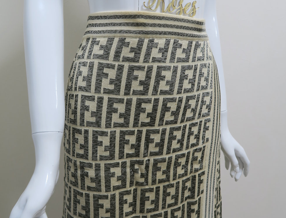 Fendi Cream Grey Knit Zuca FF Logo Print Skirt