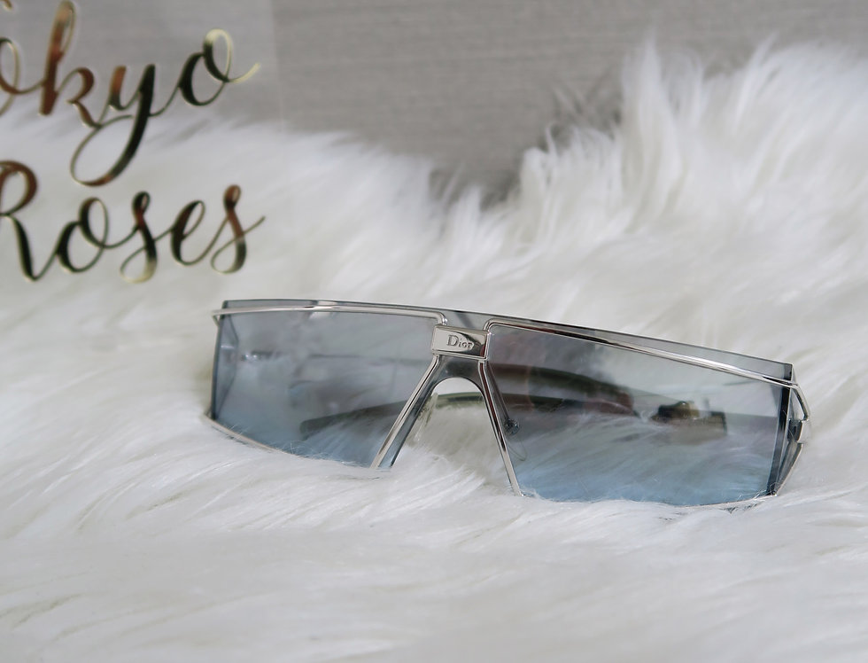 Vintage Christian Dior Troika Blue Tinted Sunglasses Silver Rimmed Glasses