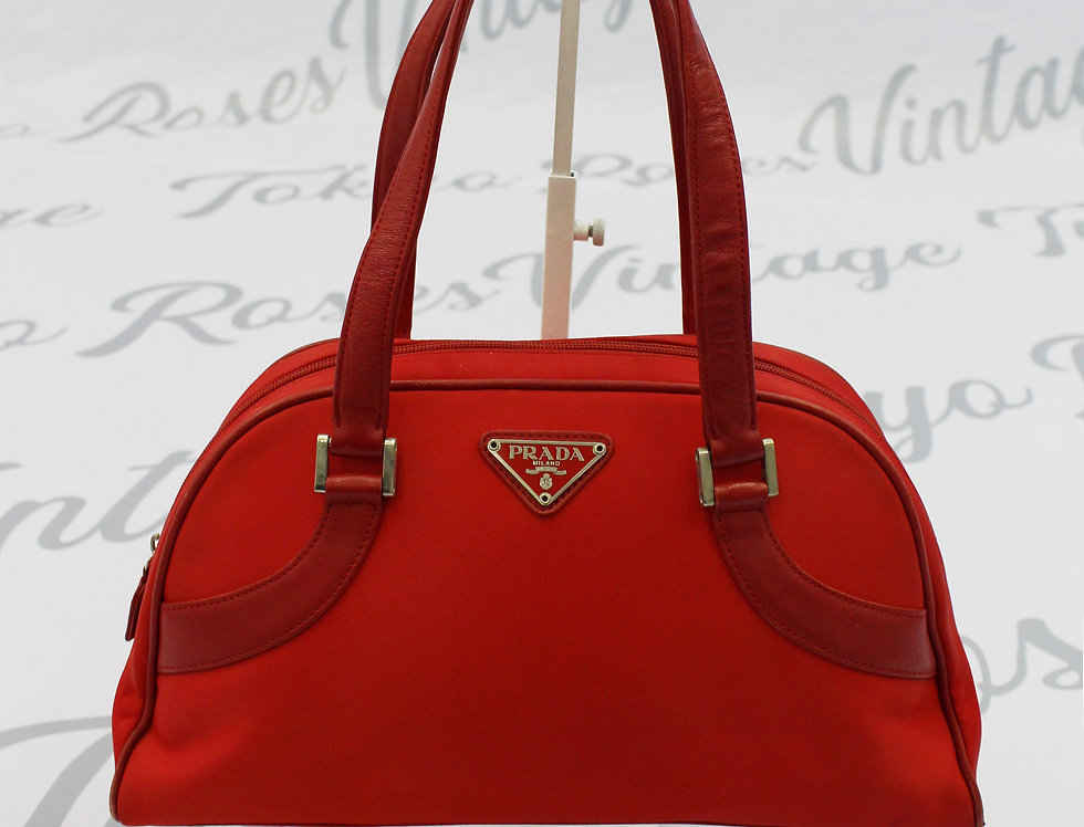 Vintage Prada Nylon Red Top Handle Shoulder Bag