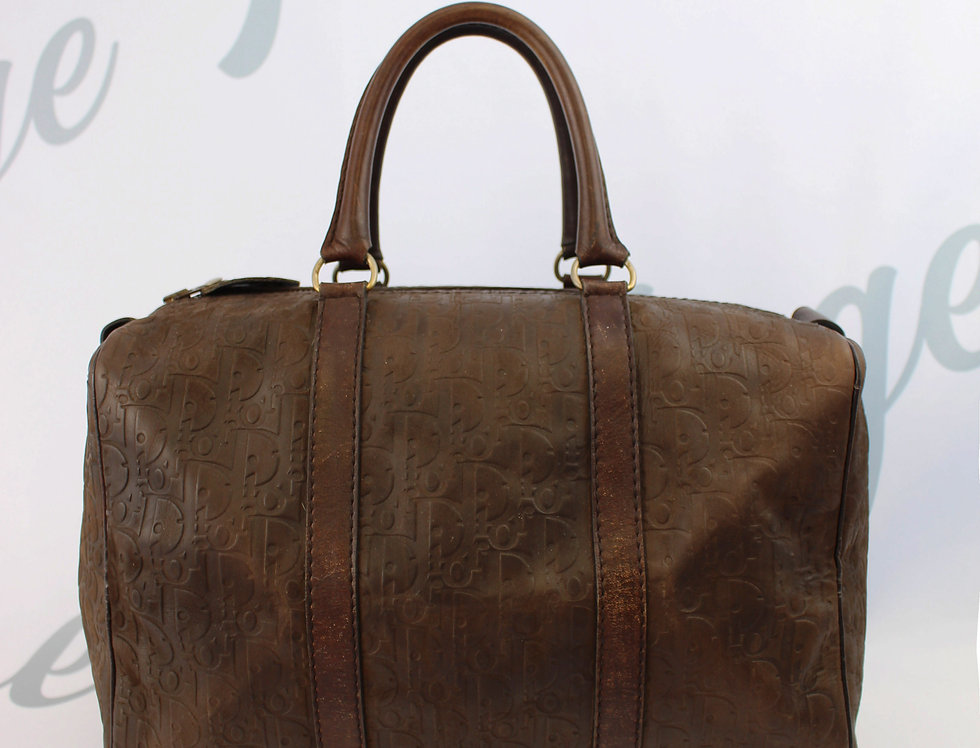 Vintage Christian Dior Brown Trotter Logo Monogram Leather Boston Bag