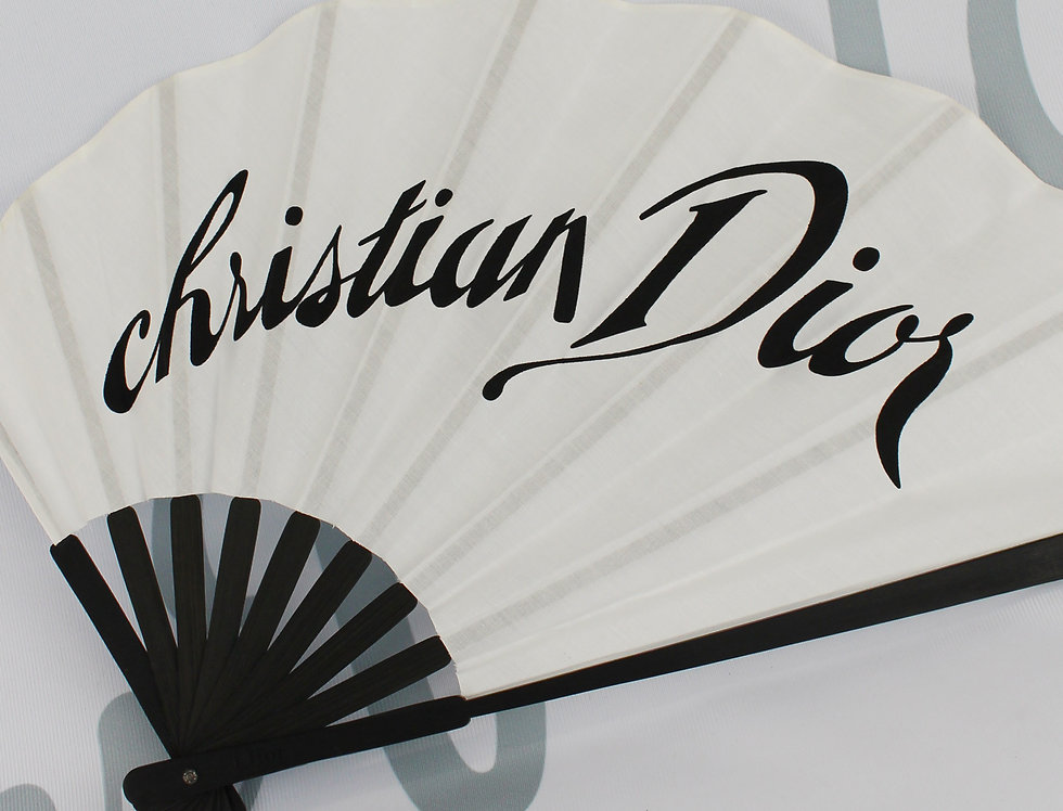 Christian Dior by John Galliano Logo Fan Black & White