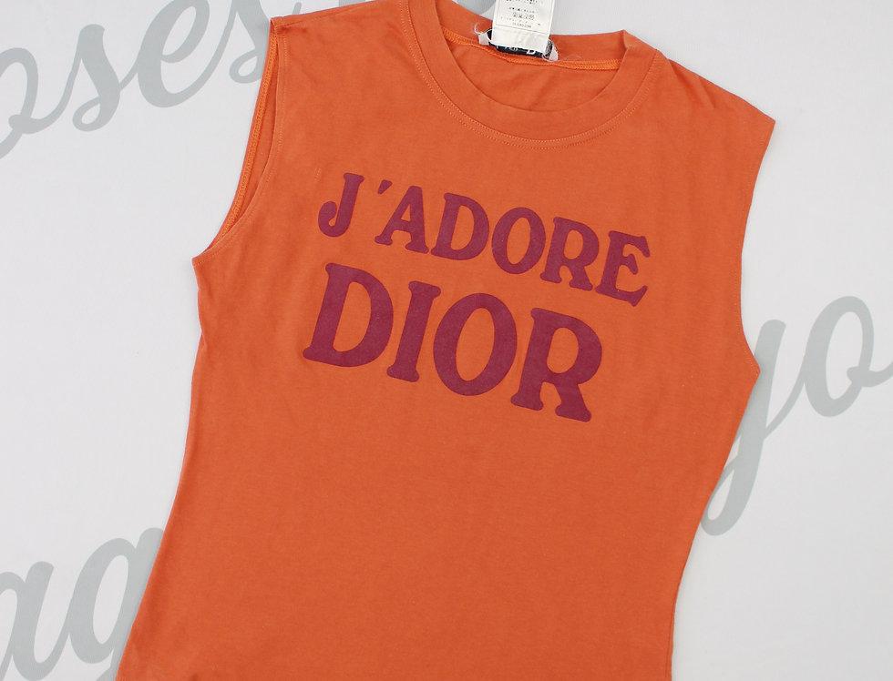 Christian Dior Orange J'adore Dior Logo Print Sleeveless Tank Top Jadore