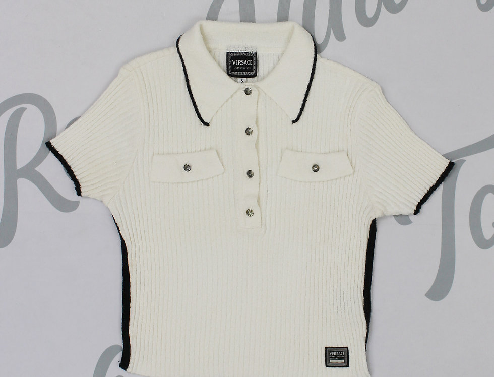 Versace White Polo Shirt Medusa Buttons