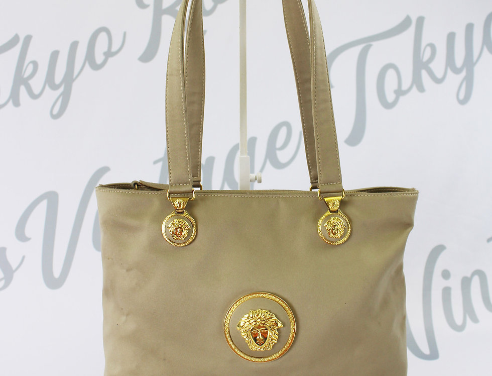 Gianni Versace Handbag Gold Tone Medusa Logos