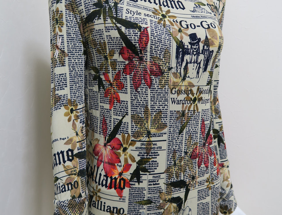 Vintage Galliano Newspaper Gazette Floral Print High Neck Top