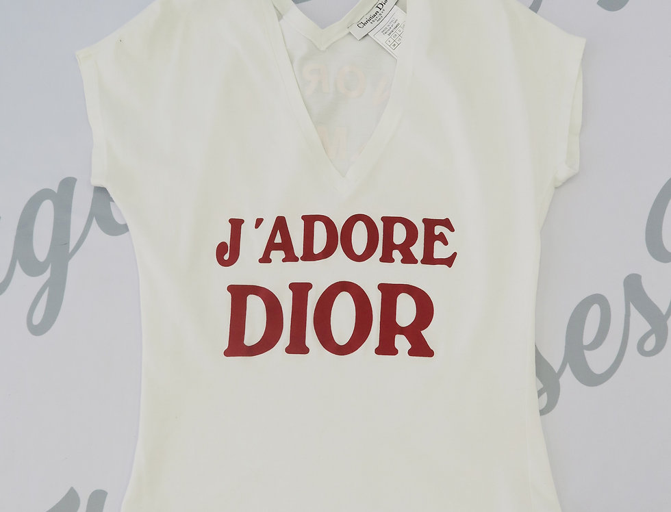 Christian Dior White & Red J'adore Dior Logo Print V Neck Top Jadore
