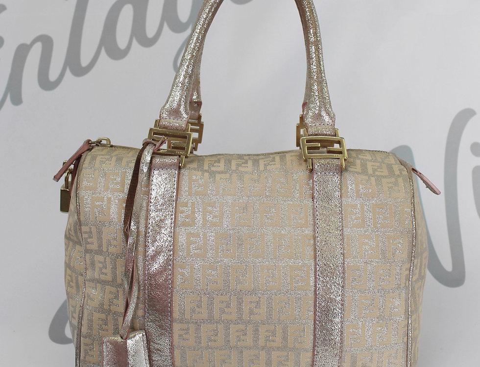 Fendi Glitter Logo Boston Bag Monogram Handbag