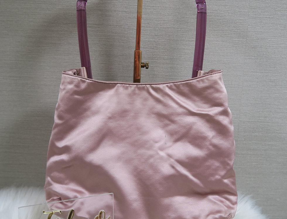 Prada Pink Satin Transparent Handle Hand bag Purse
