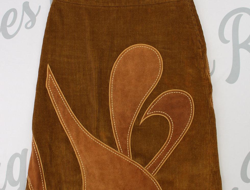 Dolce & Gabbana Corduroy Suede Brown Skirt