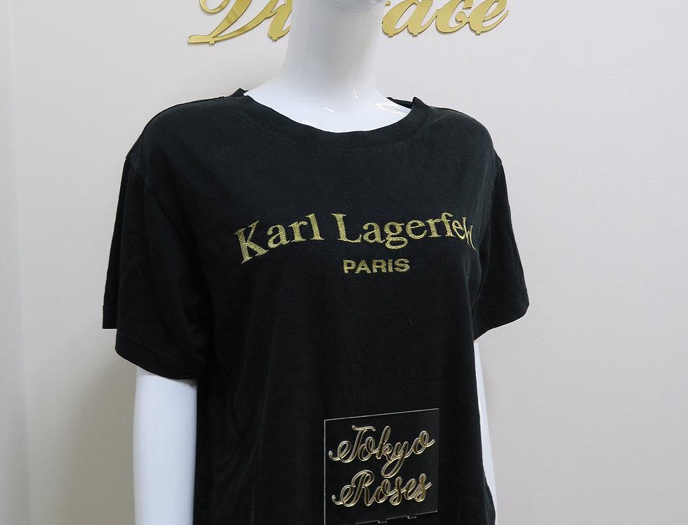 Vintage Karl Lagerfeld Paris T Shirt Top Black Logo