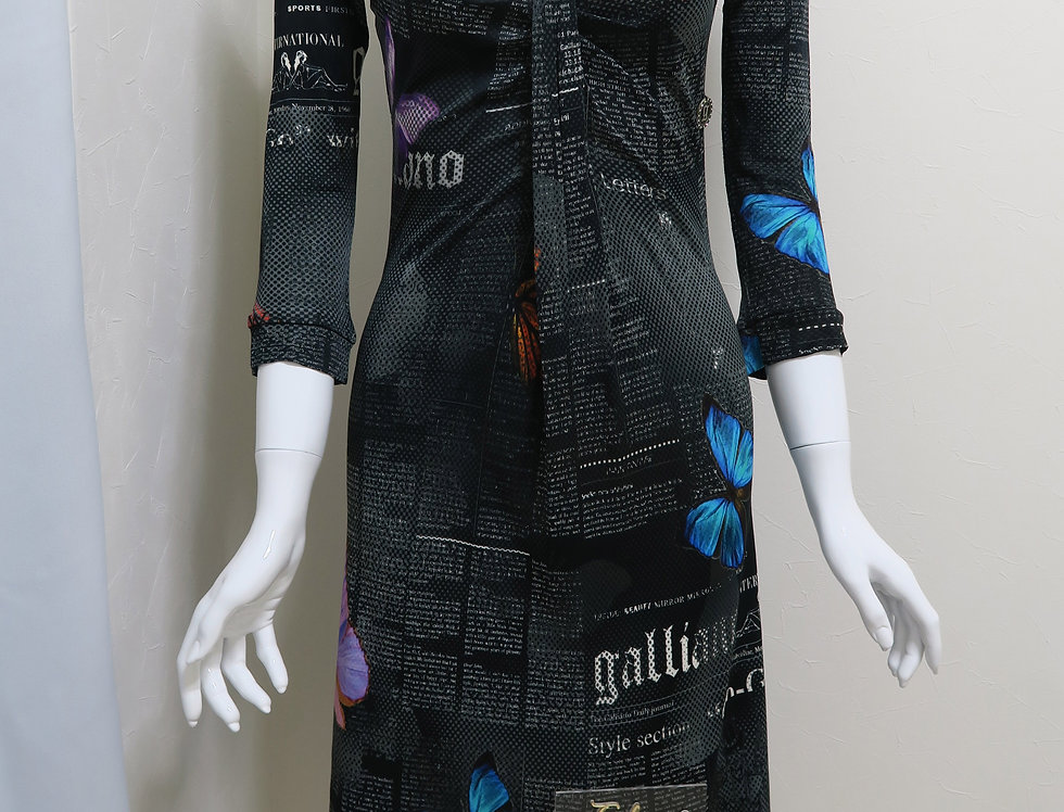 John Galliano Gazette Newspaper Print Long Sleeve Dress Black Butterfly