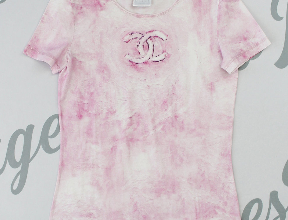 Chanel Pink Logo Chest Tie Dye Short Sleeve Top
