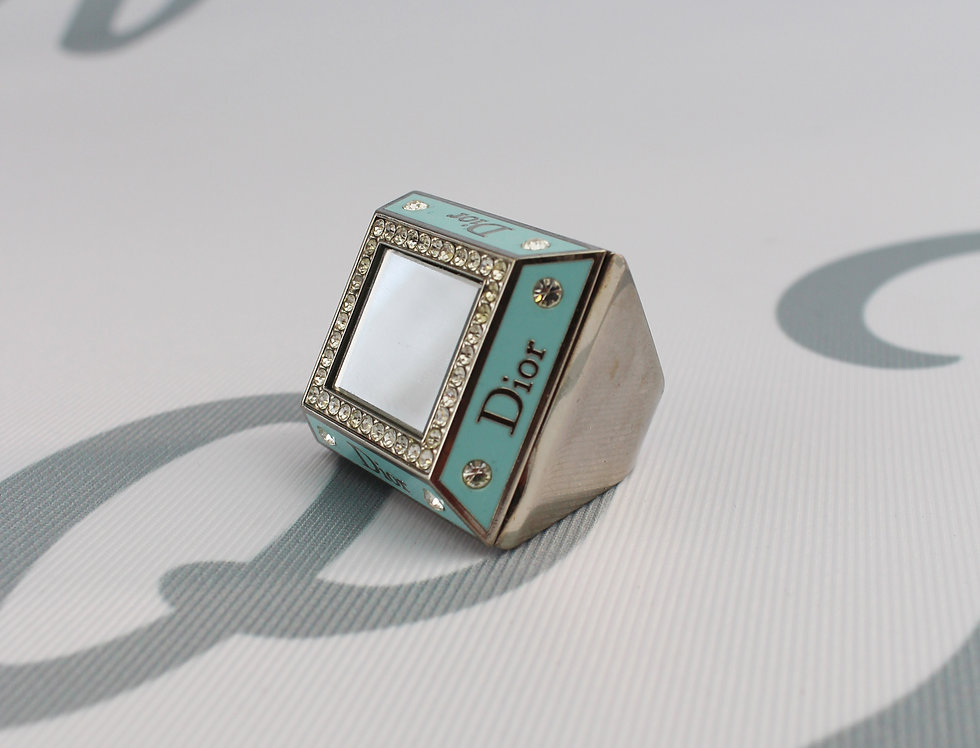 Christian Dior Mirror Compartment Ring 2000s Blue