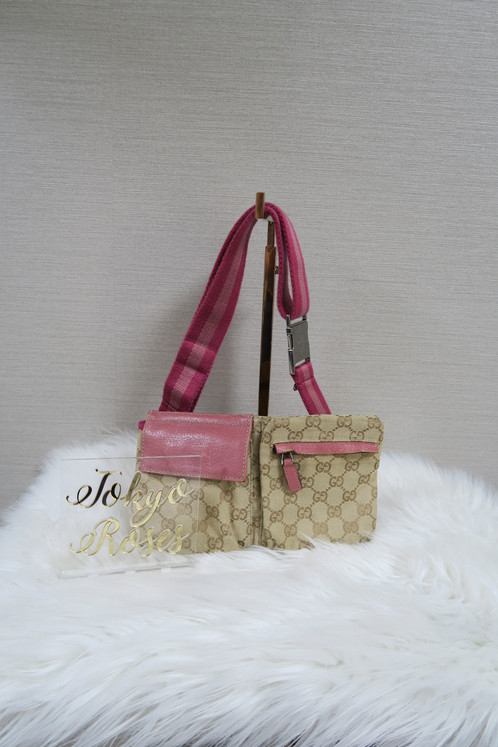 Gucci Fanny Pack Bum Bag Monogram Pink Details