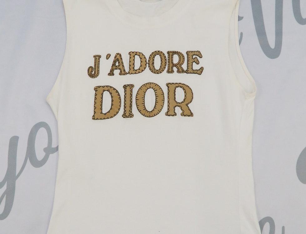 Christian Dior J'adore Dior Logo Print Tank Top Shirt White Jadore