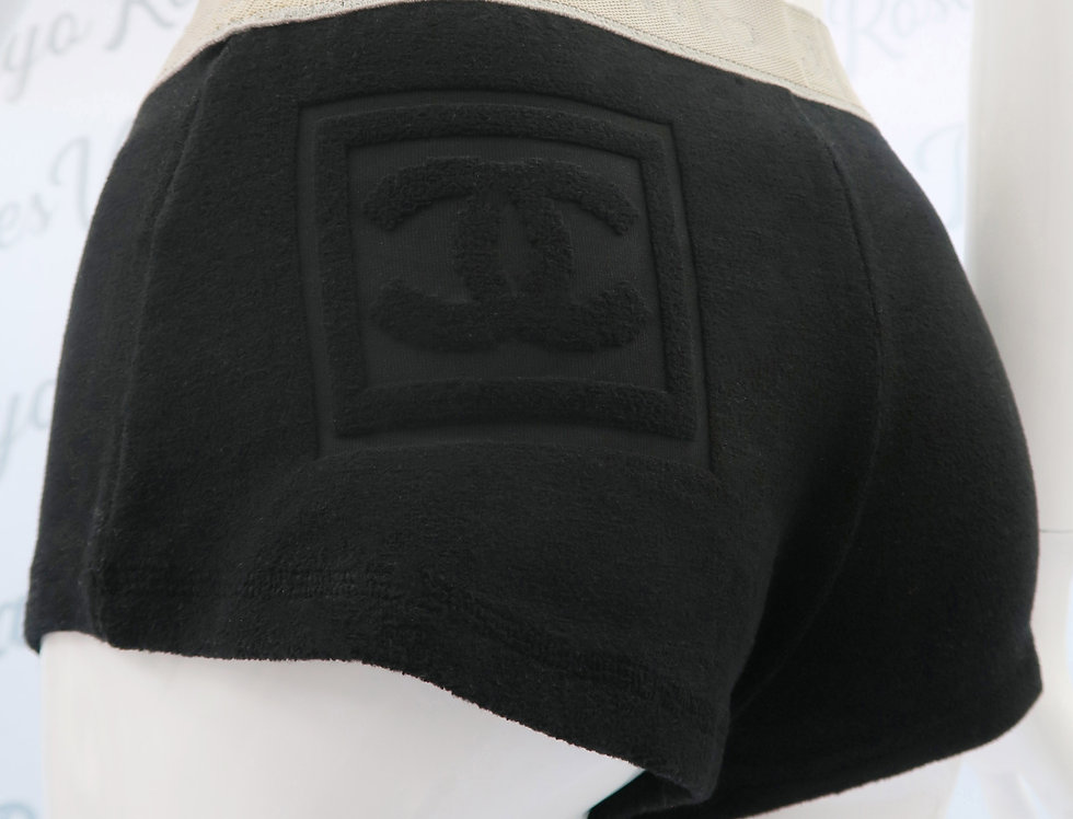 Chanel Logo Terry Cloth Shorts Black Pants CC