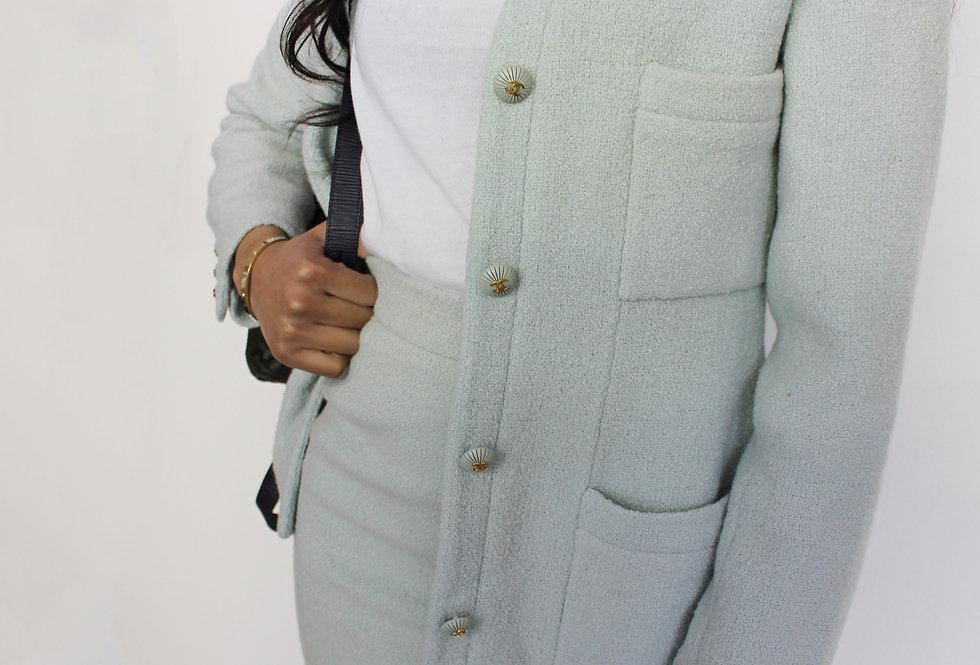 Mint Green Chanel Skirt Suit Vintage