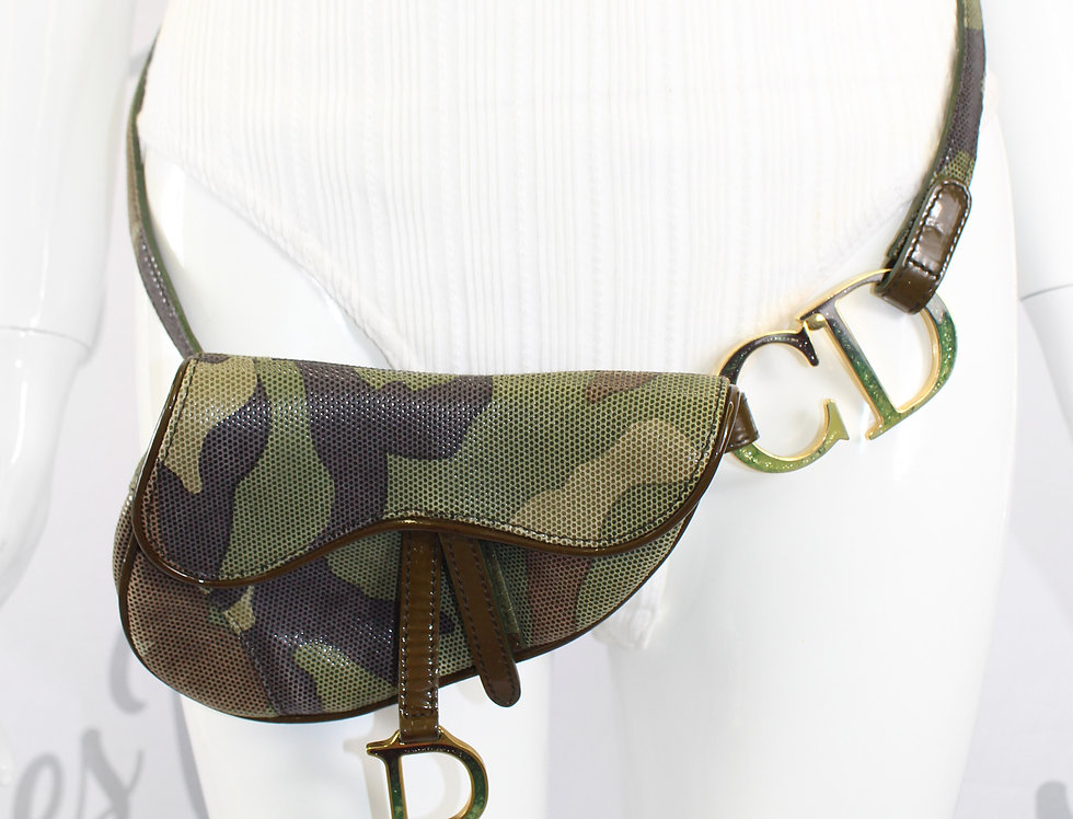 Christian Dior Camo Belt Saddle Bag