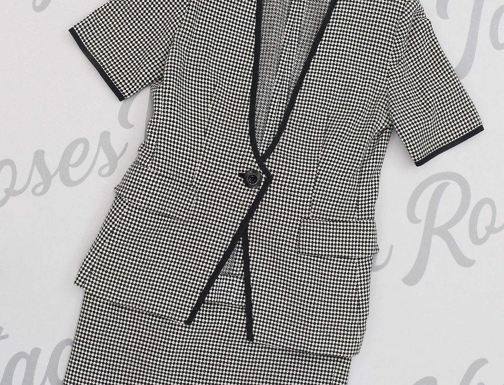 Vintage Christian Dior Black White Check Skirt Suit SET