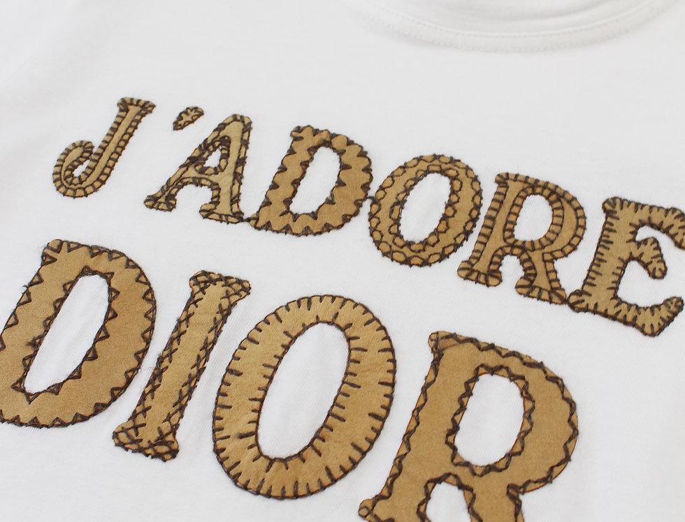 Christian Dior J'adore Dior Logo Print Short Sleeve Shirt White Jadore