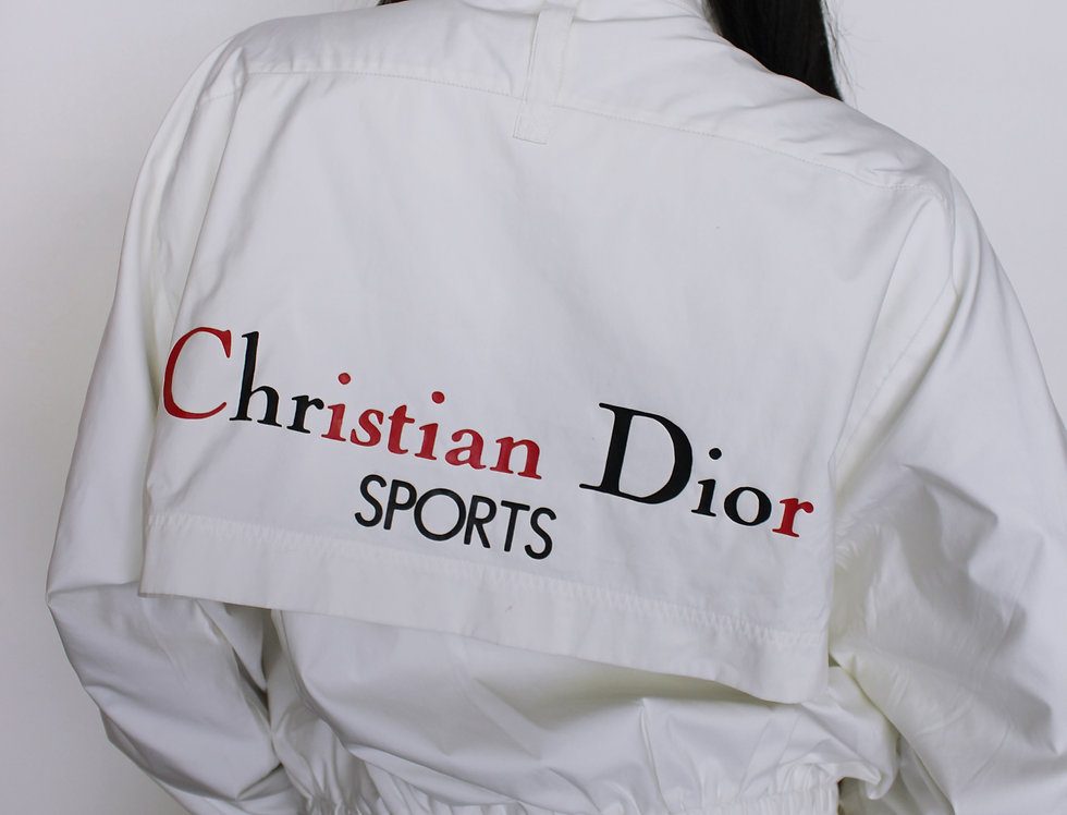 White Christian Dior Sports Tracksuit Windbreaker Jacket & Pants SET