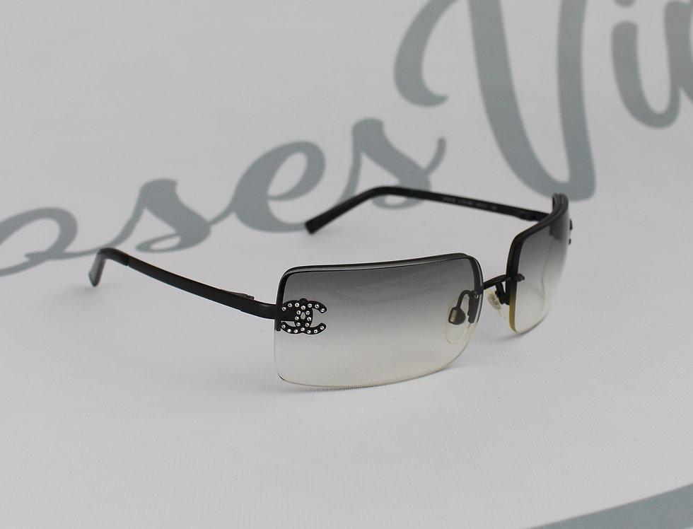 Vintage Chanel Grey Black Tinted Sunglasses Rhinestone Glasses