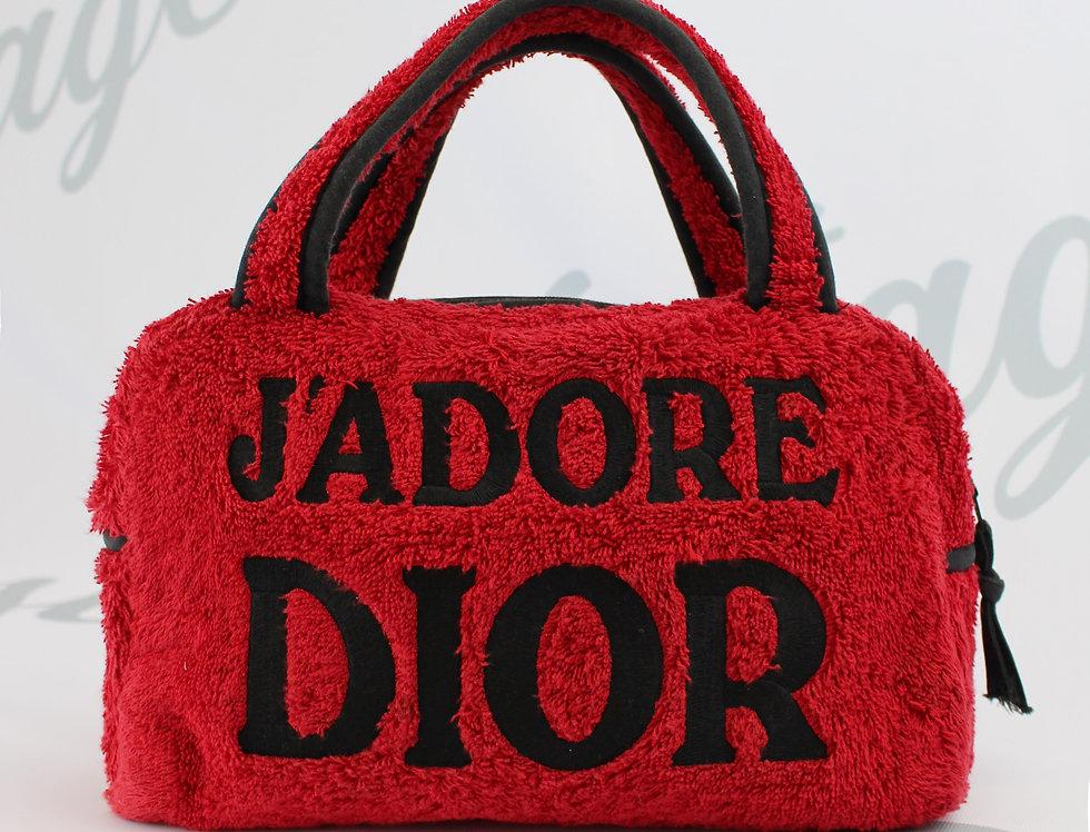 Christian Dior Jadore Dior Red & Black Terry Towel Boston Bag