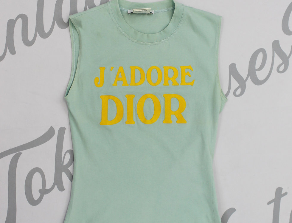 Christian Dior Blue & Yellow J'adore Dior Logo Print Sleeveless Tank Top Jadore