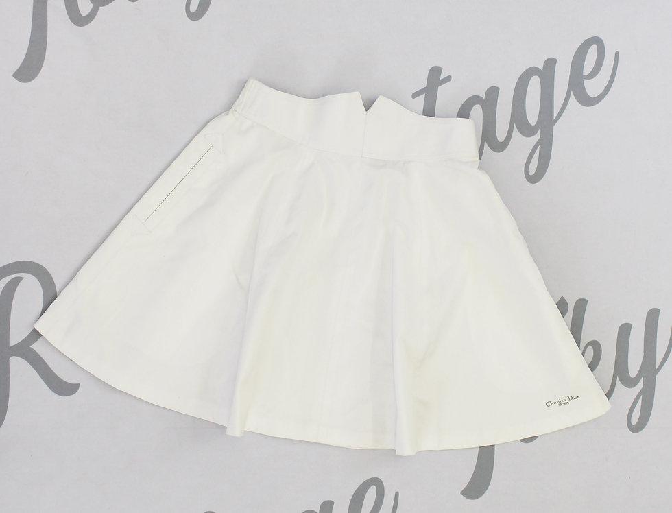 Christian Dior Sports White Skirt Logo Embroidery