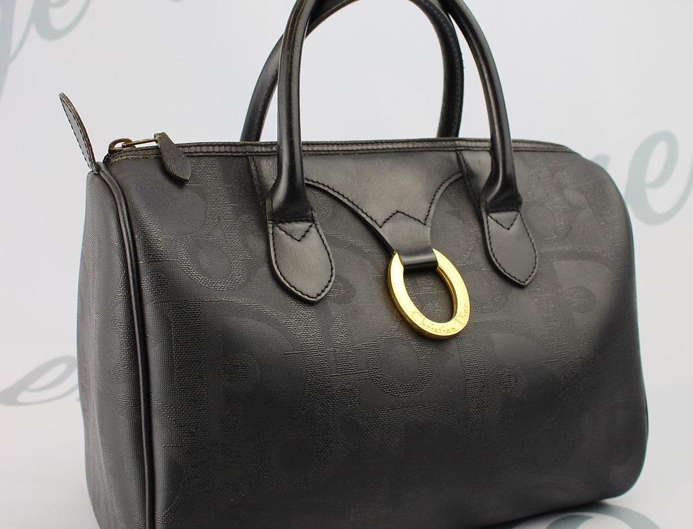 Vintage Christian Dior Leather Monogram Boston Bag Brown