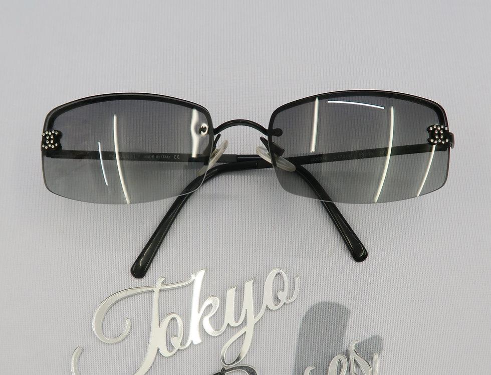 Vintage Chanel Black Tinted Sunglasses Rhinestone Glasses Wide