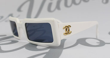 Chanel Rare 90s Rectangle Logo Side Sunglasses